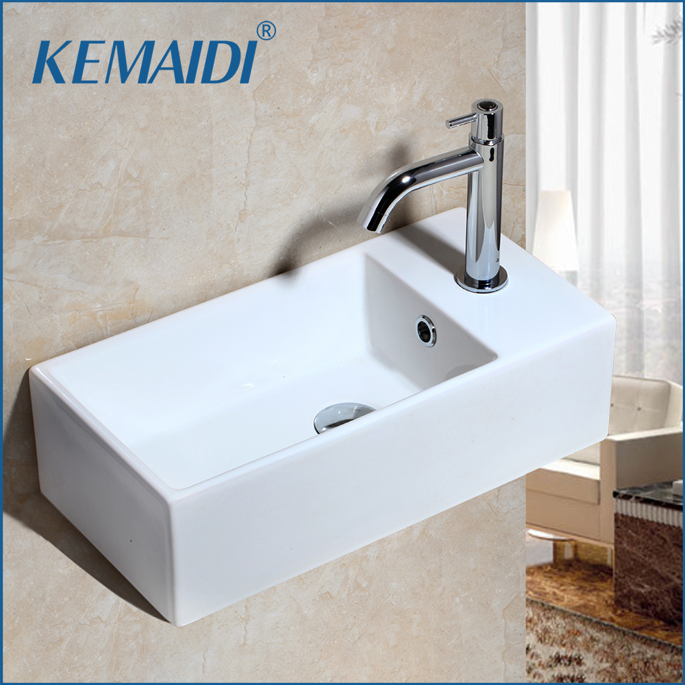 KEMAIDI Art Ceramic Vessel Bathroom Sink Set Ceramic Basin Wall Mounted Bathroom Faucet White Design Basin