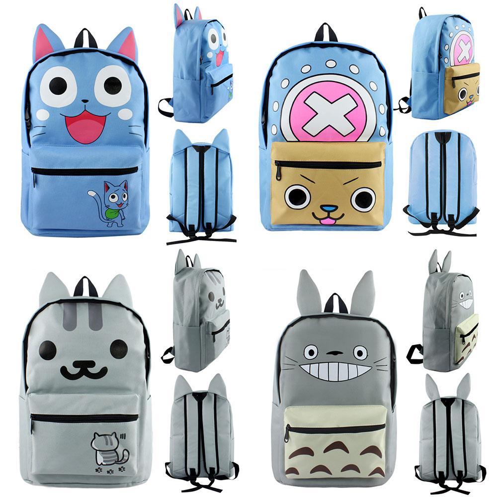 a8a7d7faa294 New Kawaii Cat Totoro Fairy Tail Neko Atsume Boy Girl School bag Women  Bagpack Teenagers Schoolbags Canvas Men Student Backpacks-in Backpacks from  Luggage ...