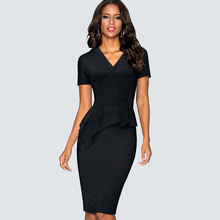 Vintage Women Work Office Business Sheath Slim Solid Color Bodycon Dress Formal V Neck Pencil Summer Ruffle Dress HB433
