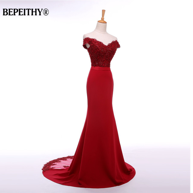 BEPEITHY Sexy Off The Shoulder Long Evening Dress Party Elegant 2019 100% Handmade Beadings Mermaid Prom Gowns Fast Shipping 2