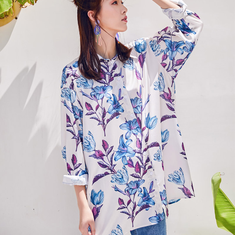 0924f1fc3571 Cheerart Summer Floral Blouse Women Long Print Flower Shirt Loose Casual  Tops Button Up Shirt Korean Fashion Clothing-in Blouses   Shirts from  Women s ...