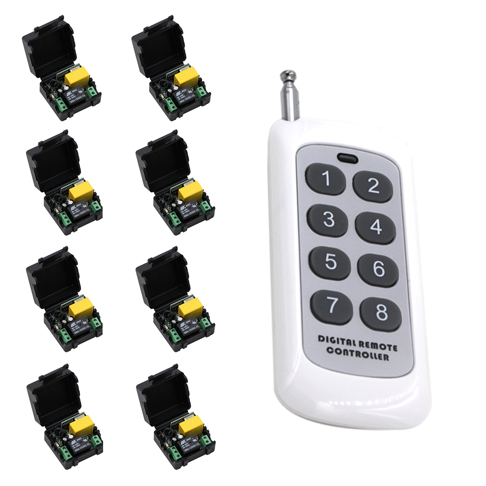 AC220V 1CH RF Wireless Remote Control Switch System 315/433 MHZ 8Keys Transmitters + 8*Receivers Latch/Momentary/Toggle new ac 220v 30a relay 1 ch rf wireless remote control switch system toggle momentary latched 315 433mhz