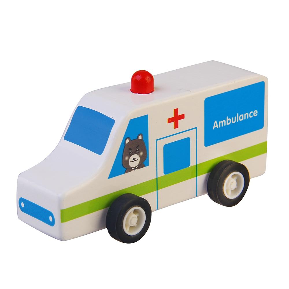 1 Piece Wood Cartoon Ambulance Car Toys Vehicles Baby Kids School Bus Colorful Car Wood Educational Model Gift