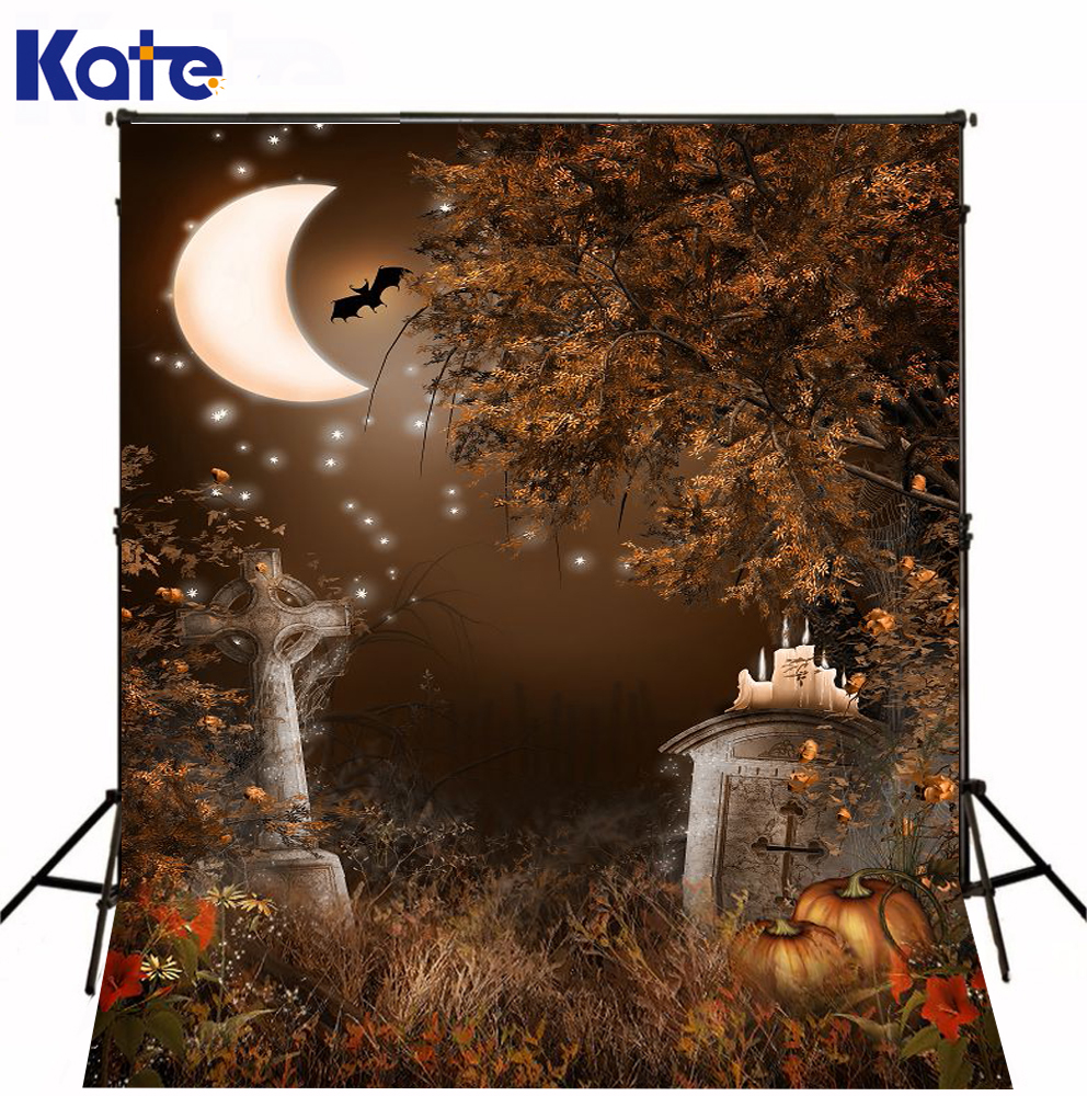 Kate Digital Printing Halloween Backgrounds Forest Moon Autumn Pumpkins For Children Photo Backdrops