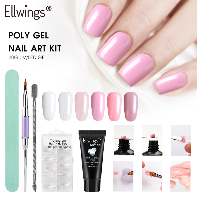Ellwings Poly Gel Nail Polish Set Acrylic French Nails Art Tips UV Builder Extending Crystal Jelly Gel Varnishes Manicure Tool