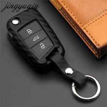 jingyuqin Carbon Fiber Silicone Key Case Cover For VW Polo Golf 7 Tiguan for Skoda Octavia Kodiaq Karoq SEAT Ateca Leon Ibiza