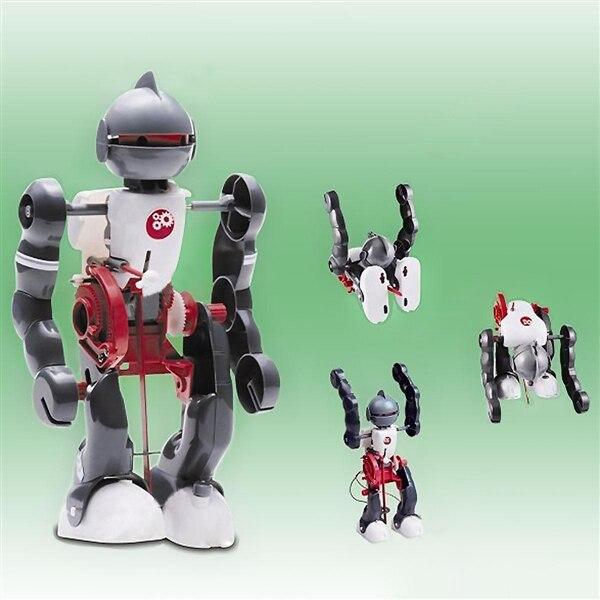 Cute Sunlight DIY Electric Walking Dancing Tumbling Robot 3-Mode Assembly Robot for Children Educational Kids Toys