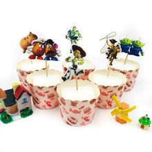 24pcs Toy Stroy Cake Dessert Inserted Card Collections Topper for Party Decoration lovely Gift Happy Birthday