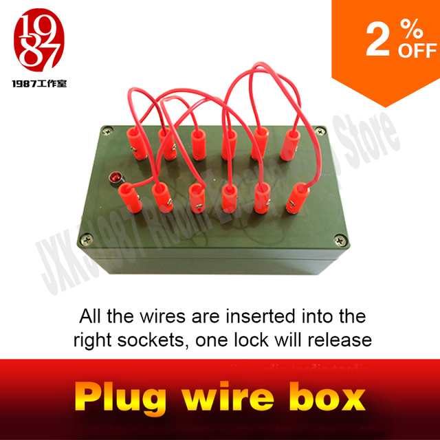 Escape room takagism game props plug wire box all the wires are inserted into the right sockets to unlock charmber room JXKJ1987