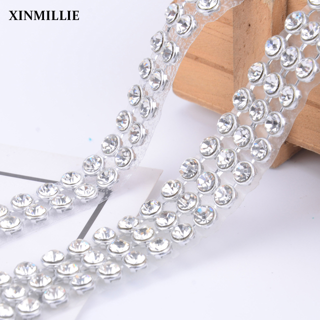6mm big size hotfix 2 rows lot Crystal Rhinestone Trims clear Color bridal appliques  trims 86a243e921d1