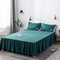 3pc Cotton Sheet Set Bedspread Wedding Gift Fitted Sheet Cover Soft Non Slip King Queen Bed Sheet Bed Skirt+2 Pillowcase