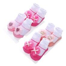 Cotton Baby Socks Spring Lace Bowknot Infantil Cute Meia Flowers 2pairs/Set