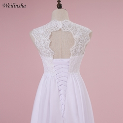 Weilinsha Cheap Stock Beach Wedding Dress Chiffon Lace Long Wedding Gowns Pregnant Bridal Dresses Plus Size Robe De Mariage 6