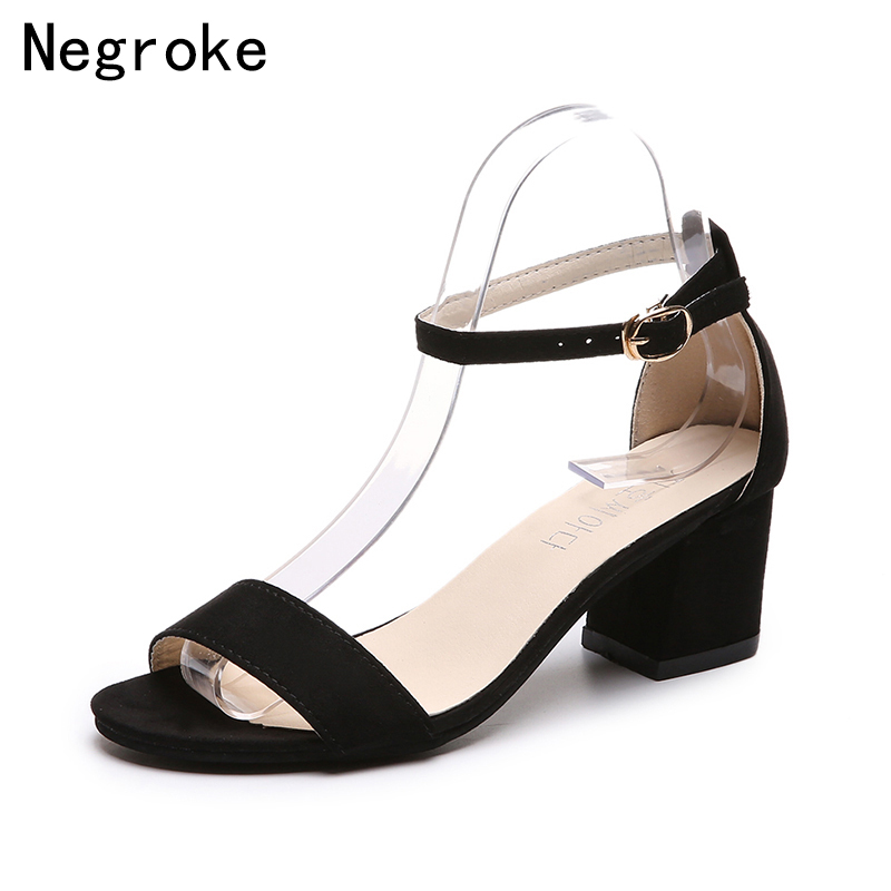 2019 Summer Gladiator Sandals Women Shoes Classic High Heels Sandals Dress Shoes Woman Suede Leather Sandalia Mujer SD&110
