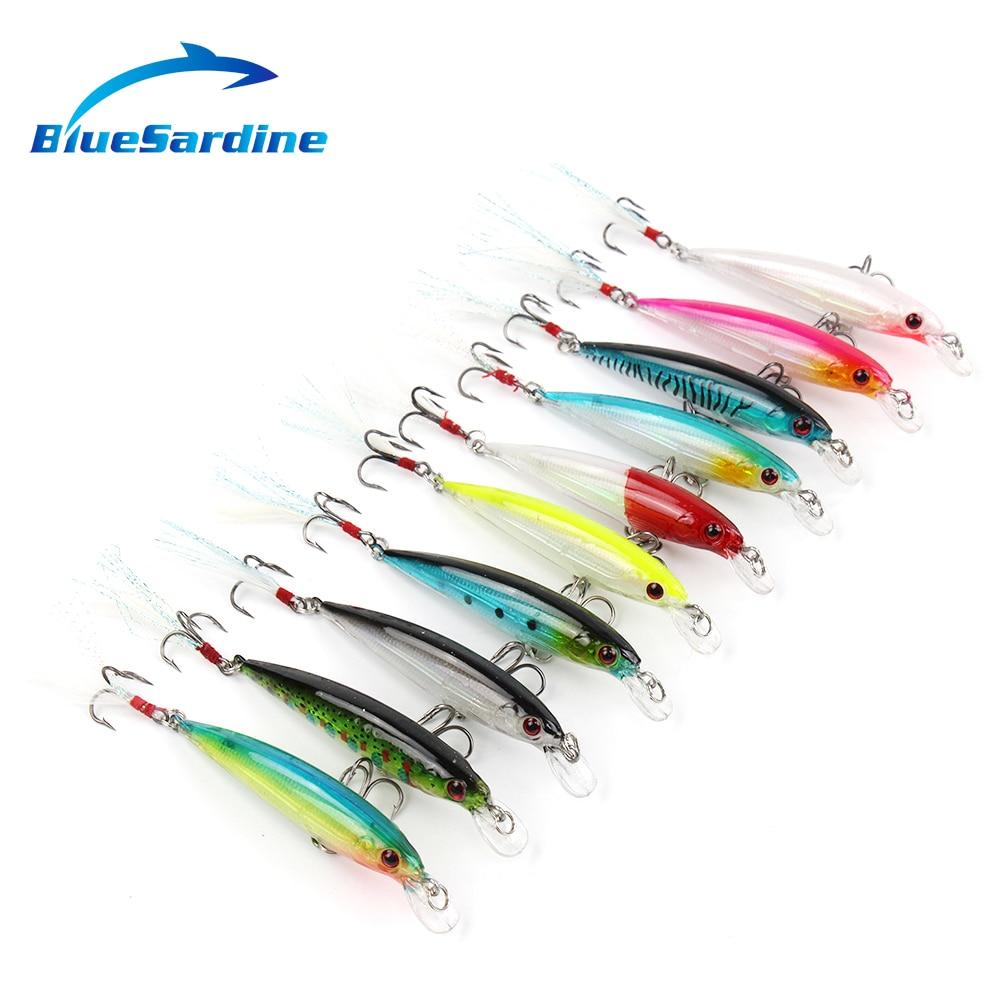 BlueSardine 10PCS Minnow Pescuit Pescuit Hard Momeală Pesca Crap - Pescuit