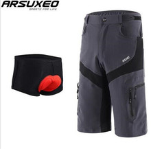 ARSUXEO Mens Brand Outdoor Sports Cycling Clothing Downhill MTB Shorts  Mountain Bike Bicycle Wear Breathable