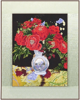 Finnished silk yarn needle stitch embroidery decorative painting / Flower Bottle / Hotel Office Restaurant Wall art pictures
