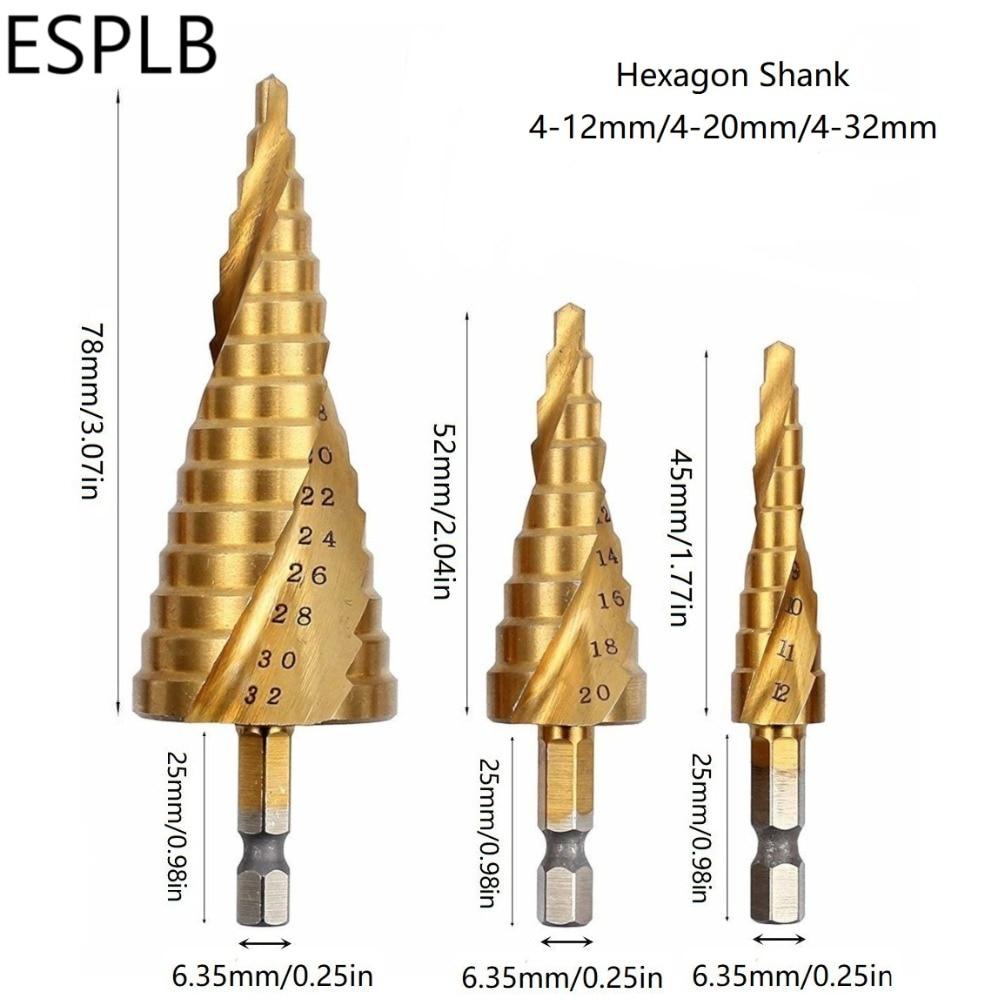 4-22mm HSS Co Spiral Groove Step Cone Drill Bit Wood Hole Cutter Titanium Coated