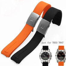 BRETA Watch with silicone rubber sports watch accessories for T-Touch T033 T047 strap 20MM 21MM black orange butterfly buckle