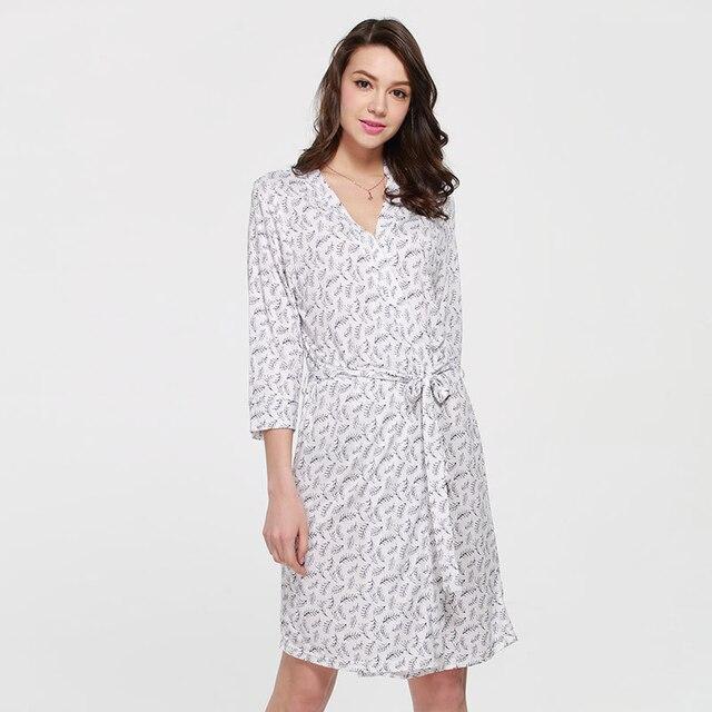88676e8182 Summer simple modal robe sleepwear leaves printing 3 4 sleeve mid length  robes women