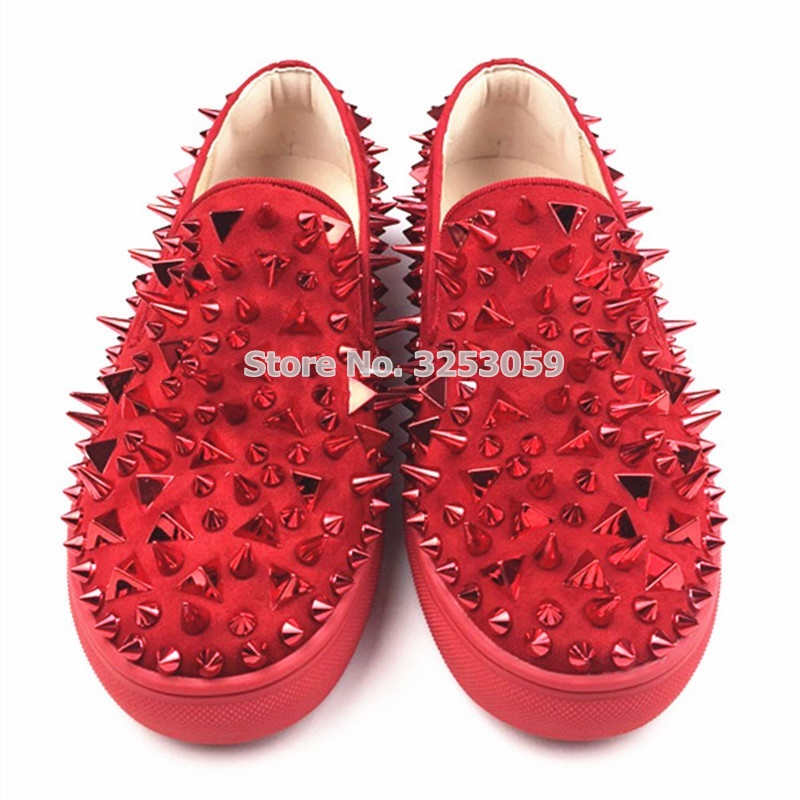ALMUDENA High End Unisex Rivets Sneakers Punk Stylish Spikes Slip on Loafers Black Red White Studded Dress Shoes Size 35 45 - 2