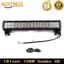 """Su geçirmez 18 """"inç 108W arazi arabası ışığı bar combo ışın kablo kiti 4x4 led ışık çubuğu Sürüş Tekne araba Traktör SUV"""