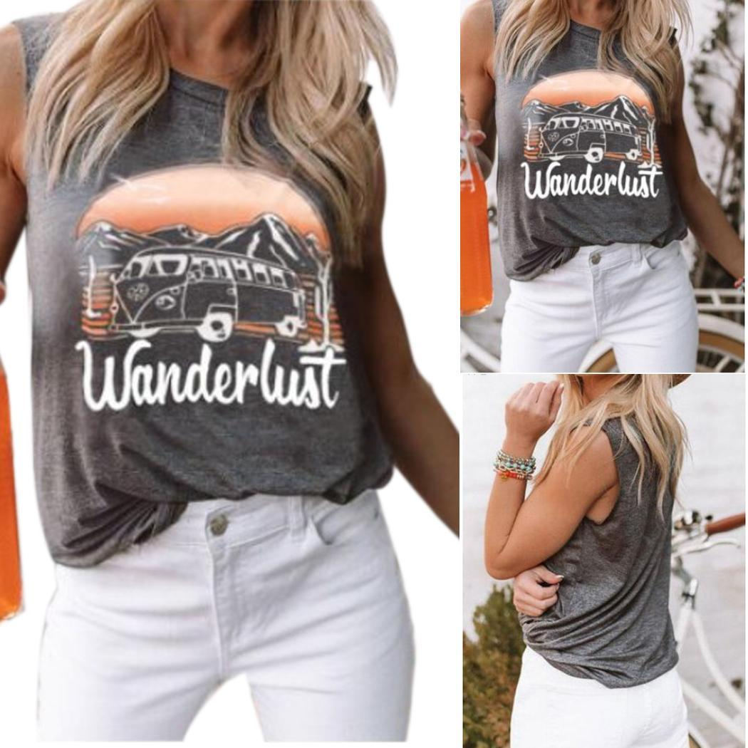 Women Casual Letter Print Sleeveless O None Gray Neck Shirt Summer Tank Tops Regular(China)