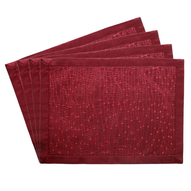 New Design Sparkle Glitter Burgundy Table Placemat Bling Mat Set Of 2 Pcs Gift