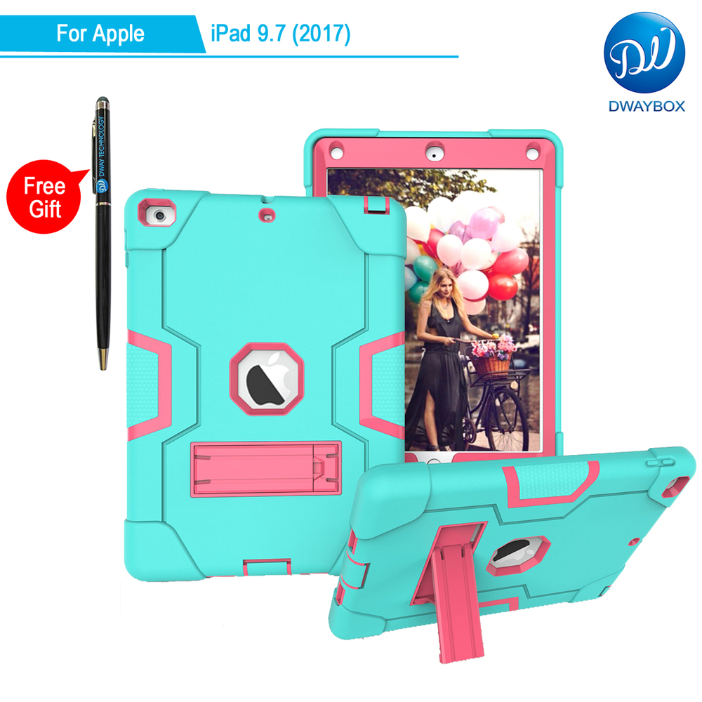 DWAYBOX Shockproof Case For Apple New iPad 9.7 (2017) A1822 A1823 3 In 1 Absorption Hybrid Combo Protective Cover With Stand