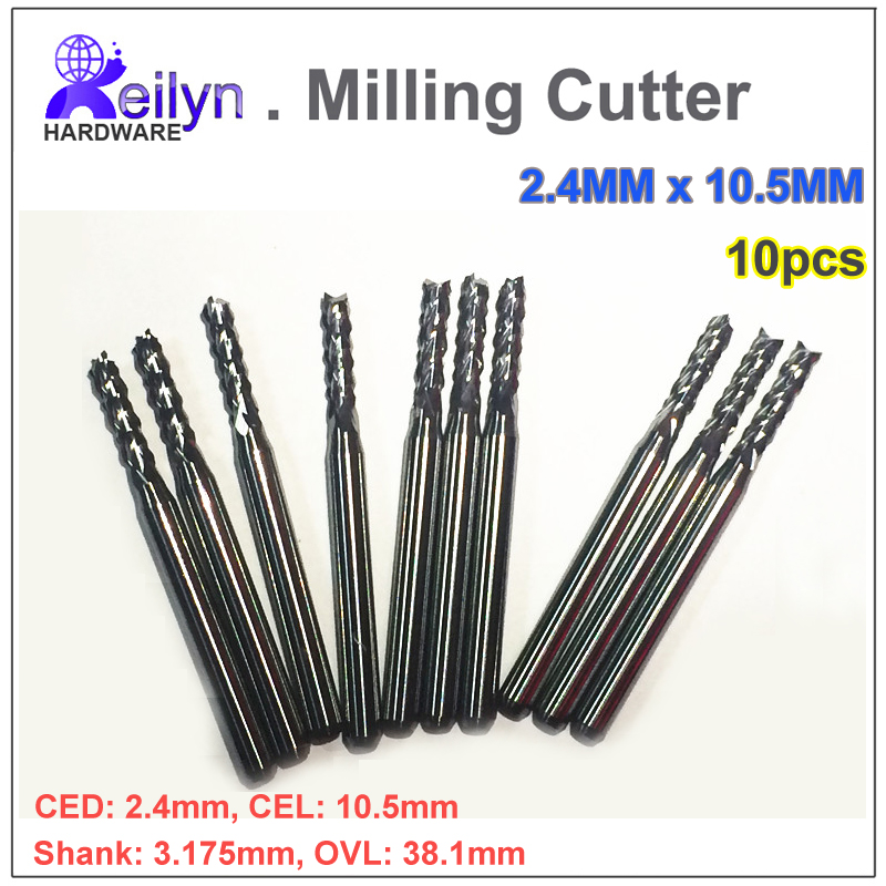 10 pc 2.4x10.5x3.175mm Carbide end mill PCB milling cutter CNC cutter mini drill bit Tungsten Carbide router PCB routering tool