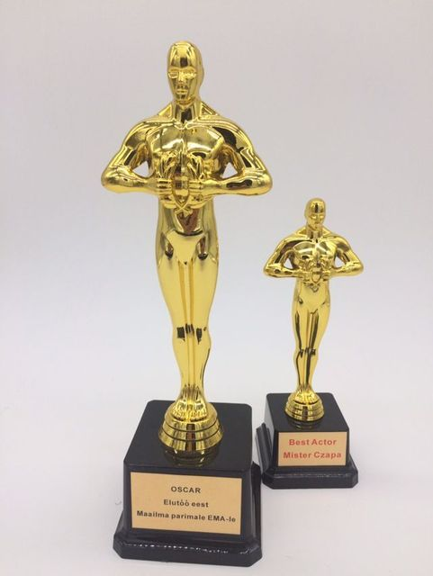 Big Size 245cm Academy Oscar Awards Plastic Trophy Gold Plated