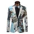 2017 Nuevo Diseño Europeo de La Moda de Primavera Traje de Chaqueta de Los Hombres Ocasionales Mens Slim Fit Blazers Un Botón Hombres Traje Chaqueta Tamaño XS-6XL