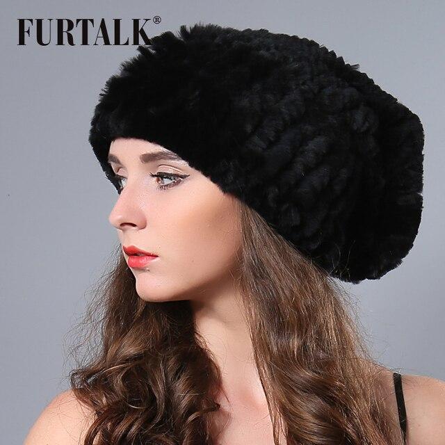 35945f46e8fee Fashion Russian cap beanies black white womens winter knit hat real rex  rabbit fur hat