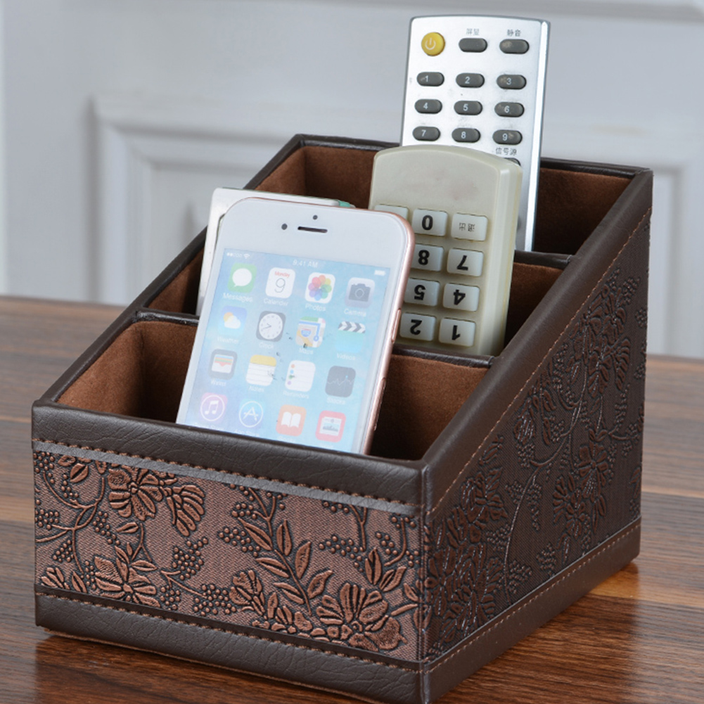 Retro PU Leather Storage Box Remote Control Phone Holder Cosmetic Organizer for Home Office Storage Case