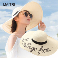 ce43ffdf731 MAITRI 2017 Big Brim 15cm New Women Summer Straw Hat Fashion Lady Sun Beach  Hat Chapeu