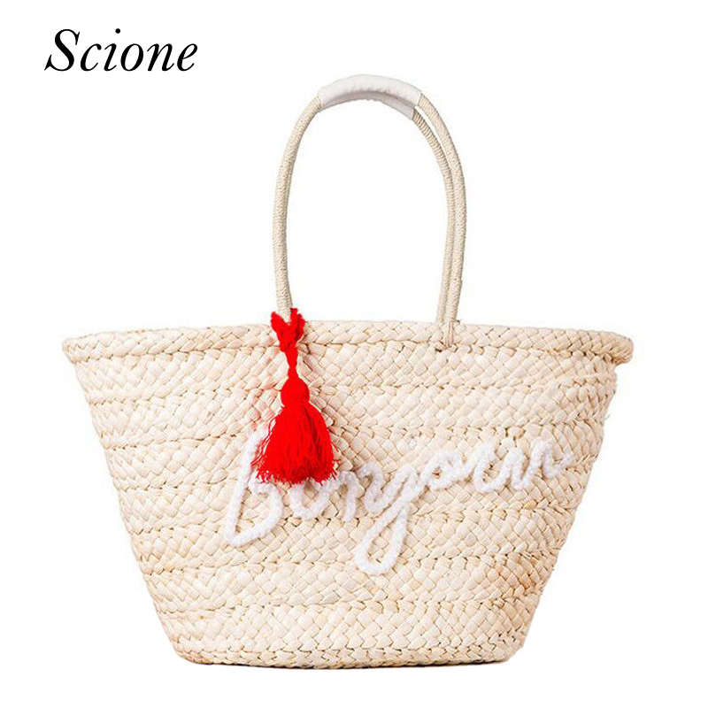 Fashion Bohemian Knitted Straw Summer Beach Handbags Tassel Letter Women Shopping Totes Casual Woven Travel Shoulder Bags 131569 handmade flower appliques straw woven bulk bags trendy summer styles beach travel tote bags women beatiful handbags