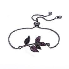 купить Fashion Charm Black Rhinestone Leaf Crystal Bracelet For Women Accessories Fashion Woman Bracelets 2019 Snake Bracelet Jewelry по цене 76.85 рублей