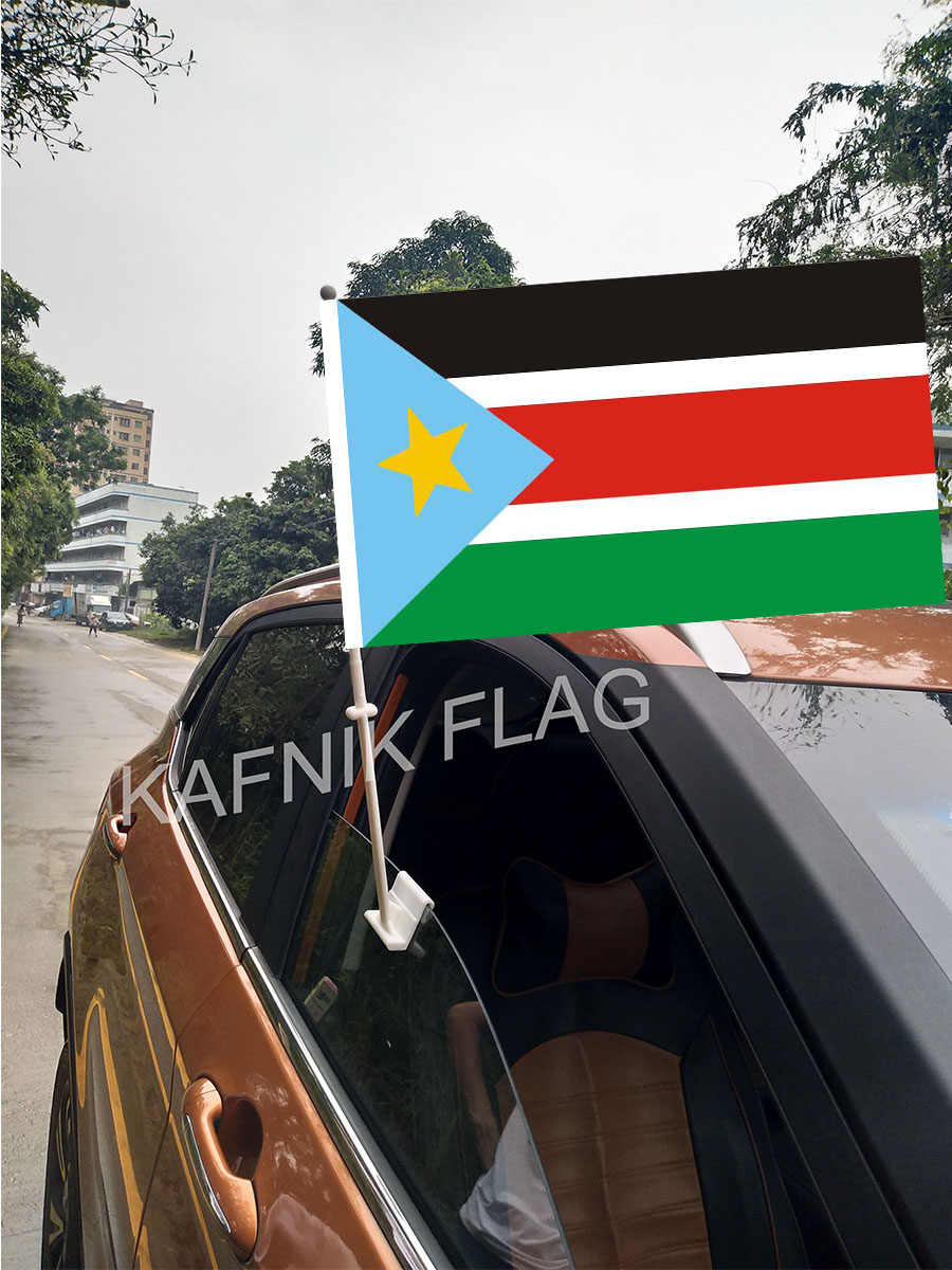 KAFNIK, 30*45 cm Carro Janela Do Sudão Do Sul Países Bandeiras e Banners Bandeiras Feitas Sob Encomenda Do Mundo com 43/52 cm mastro para a decoração do carro