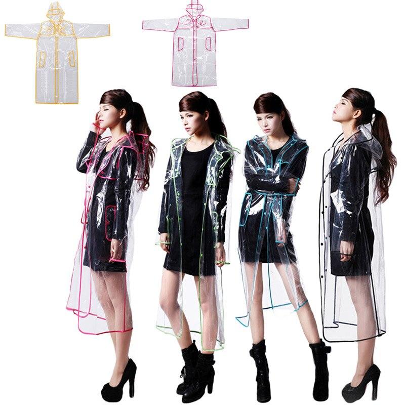 Fashion EVA Transparent Raincoat Rain Coat Women Jacket Waterproof Windbreaker Hooded Poncho Outdoors Rainwear Sale LX