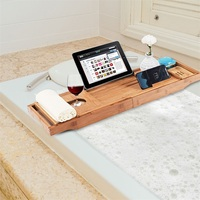 Natural Bamboo Premium Luxury Bathtub Extendable Waterproof Sides Caddy Tray with Soap Dish Multipurpose Bath Tray BA7411