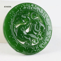 KYSZDL natural high quality Green stone hollow dragon Hand carving Imitation Cologne Pendant Fashion Jewelry Pendant Gift