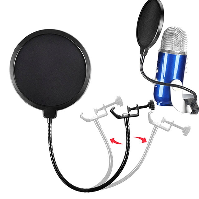 ไมโครโฟน Pop Filter Blowout เครือข่ายกระจกการบันทึก Windproof ไมโครโฟนสำหรับ Blue Yeti,Yeti Pro Cantilever Bracket