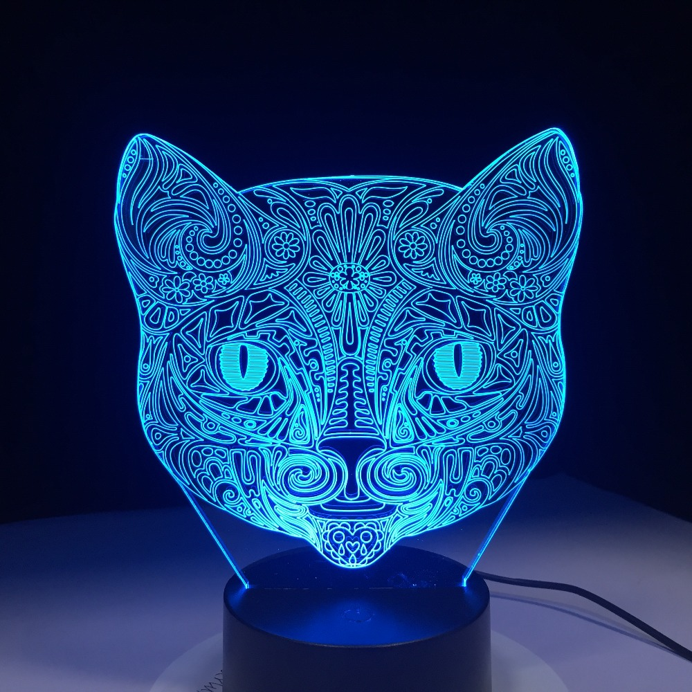 Cat Face 3D Visual Lamp Optical Illusion Led Night Light Amazing 7 Colors Art Cat Head Touch Sensitive Switch Lamp Drop Shipping 3d visual bulb optical illusion colorful led table lamp touch romantic holiday night light love heart wedding gifts