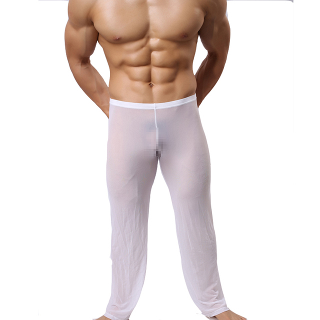 Male summer ultra-thin transparent gauze home trousers pants mens sexy sleepwear mens sexy lounge pants