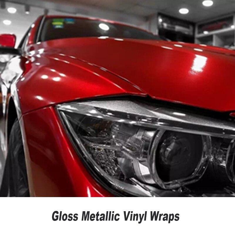 Brillant rouge à lèvres rouge comme brillant métallique vinyle wrap Rouleau Pour voiture 5ft X 65ft/Rouleau vinil wrap Brillant Bonbons vinyle Multiples couleurs