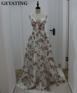 Image 1 - Deep V Neck 3D Floral Print Long Prom Dresses 2019 Blush Pink Flower Evening Dress Spaghetti Straps Criss Cross Back Party Gowns