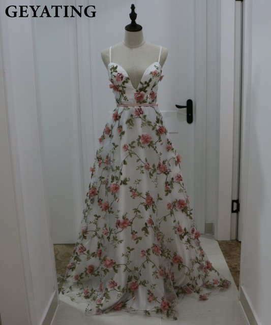 Deep V Neck 3D Floral Print Long Prom Dresses 2019 Blush Pink Flower Evening Dress Spaghetti Straps Criss Cross Back Party Gowns