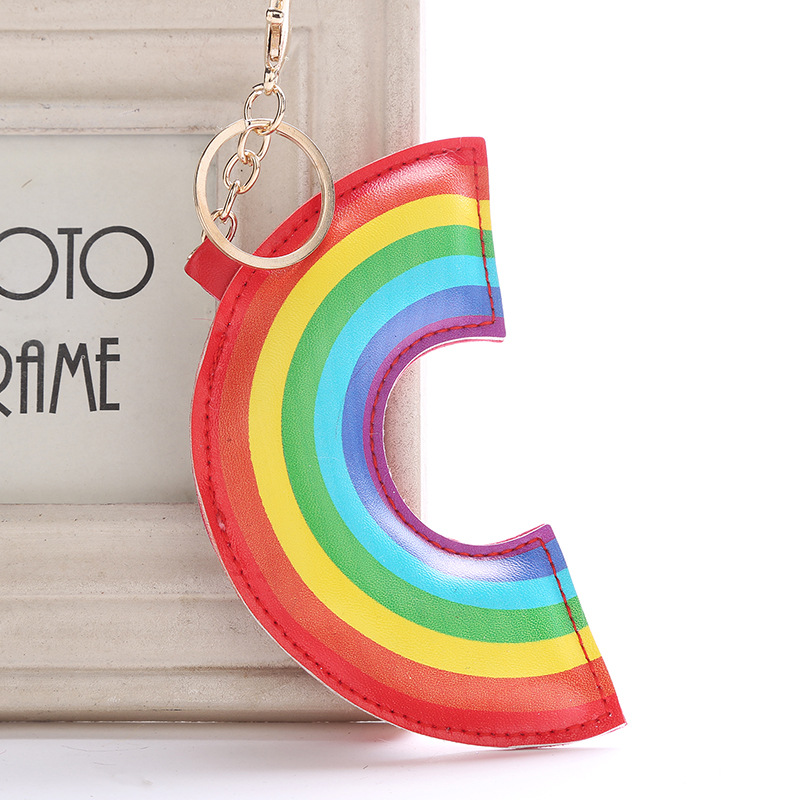 Wholesale Cute Creative Rainbow Leather Lovely Keyring Top Quality  Colorful Candy Car Key Chain Accessories Jewelry Gift 6C1179