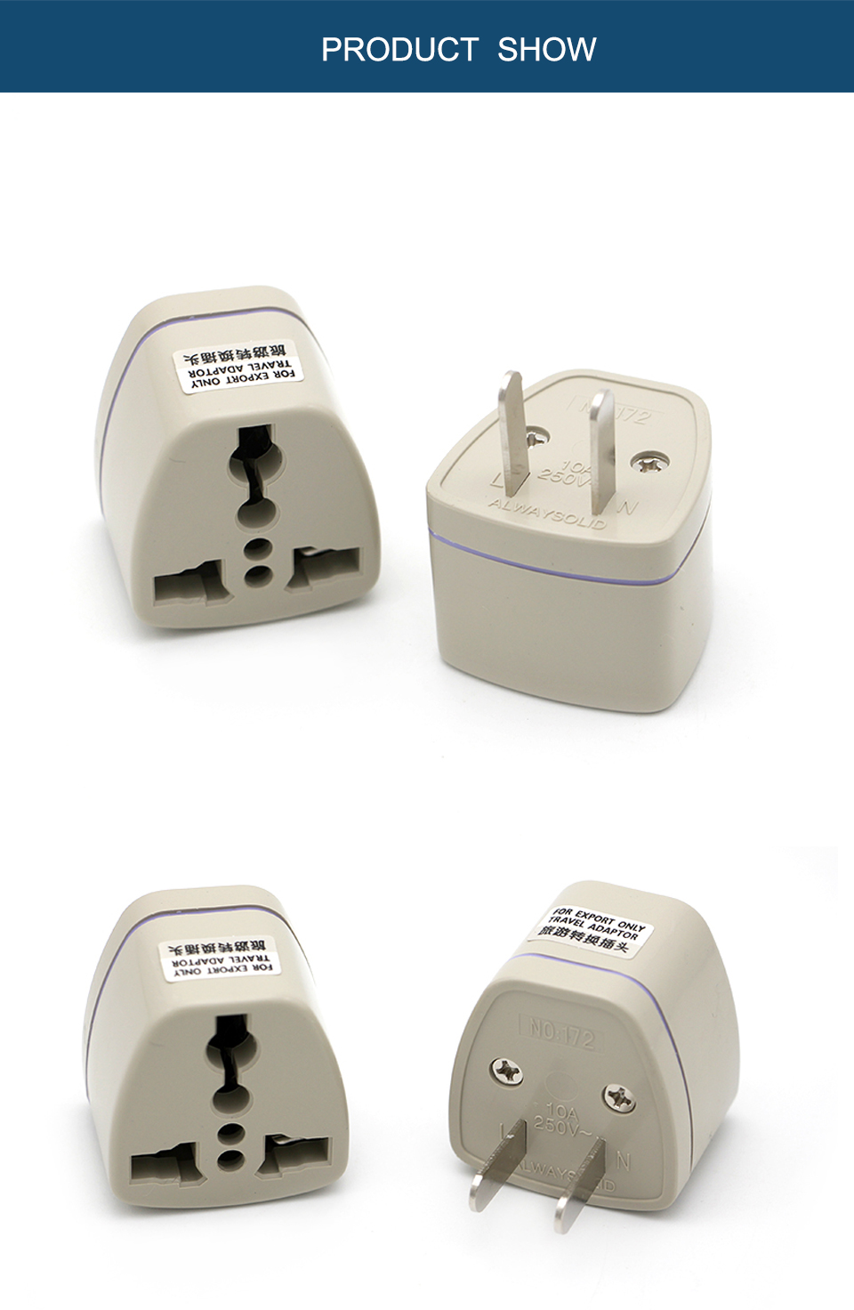 1PC New Arrivals EU UK AU to US Plugs adapter Power Converter Plugs 2 Pin Socket EU to America Travel Charger Adapter Converter (10)