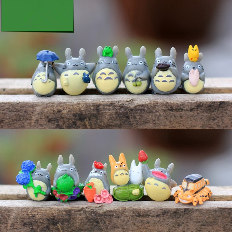 New 12PCS/set Resin Crafts Miniature Animals Ornament Gifts doll resin Figurines Kids Toys DIY Moss micro - landscape ornaments